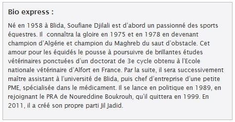 Soufiane Djilali, président de Jil Jadid, répond aux questions de Salim Mesbah (El Watan) bio-express